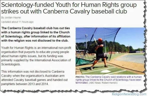 Baseball club severs ties with Scientology cult front group, Youth for Human Rights