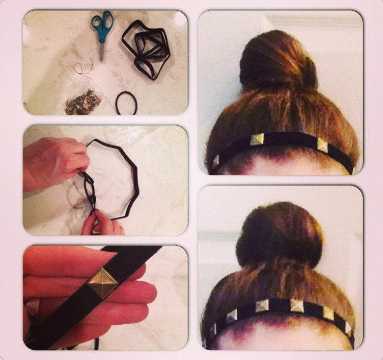 STEPS: 1) First, measure your head by wrapping the piece of suede around it as if it's a headband already.  Here, you can find out how much extra material you should cut off. Be sure to leave a little bit of extra material so you can loop the ends of the suede through your elastic band. 2) To create your headband itself, take your elastic band and loop the loose ends of your suede around each side.   2) Once your material is looped through your elastic band/hair tie, begin to sew a few stitches on each side to secure. You can also use super glue for this step but I have found the stitches are a bit more sturdy. 3) Now onto the studs: you can use as many studs as you choose, depending on the look you are going for. I've included two looks above--one with more studs and one with less.  Push the stud's prongs through the suede material and once they've gone through, bend them down so they are now lying flat along the suede. This will help them to stay secure.   And voila! You have yourself a comfy chic headband. Feel free to play around with the color of the suede material you choose, as well as the studs! The headband looks great with your hair down or around a top knot.