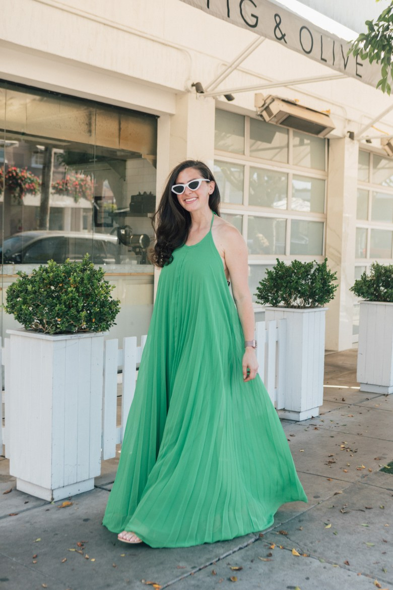 Lifestyle blogger Arielle Worona of Relish By Arielle wearing ASOS green pleated maxi dress