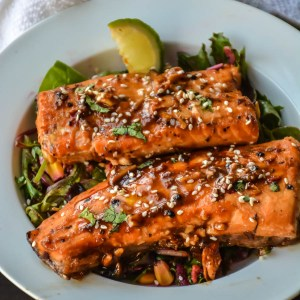 Spicy Honey Garlic Salmon in foil