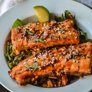 Spicy Honey Garlic Salmon in foil