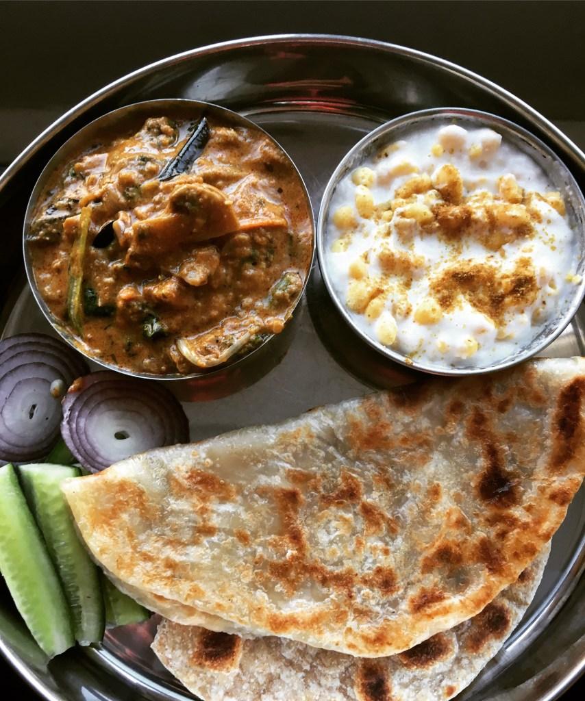 veg thali mushroom curry