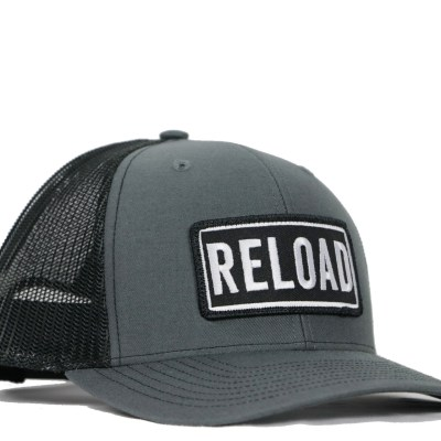 ba38396362a Reload Patch Charcoal Trucker hat