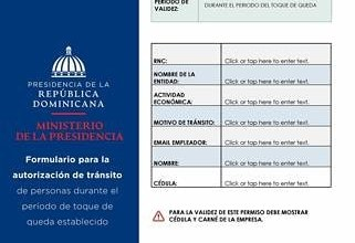 Photo of Ministerio de la Presidencia emitirá nuevos permisos para circular en toque de queda