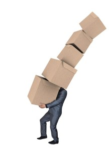 man carrying the moving boxes