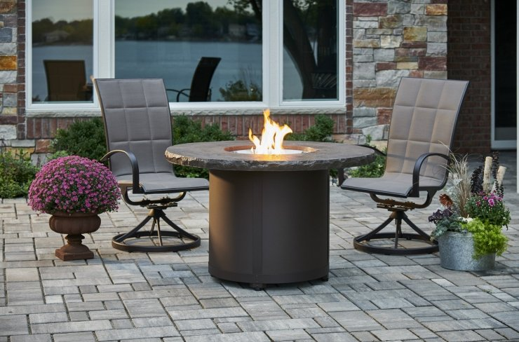 marbelized noche beacon dining height gas fire pit table