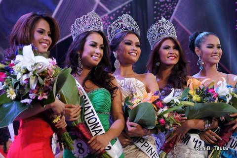 (left to right) Bb. Pilipinas 2012 2nd Runner-up-Ali Forbes, Bb. Pilipinas International 2012 – Nicole Schmitz, Bb. Pilipinas Universe 2012-Janine Tugonon, Bb. Pilipinas Tourism 2012-Katrina Dimaranan, Bb. Pilipinas 2012 1st Runner-up