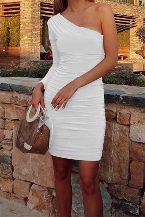 Solid color stretch one-shoulder pleated elegant stylish dress