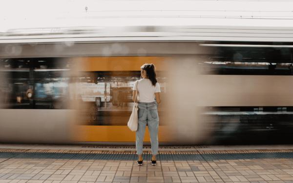 woman standing on the train platform