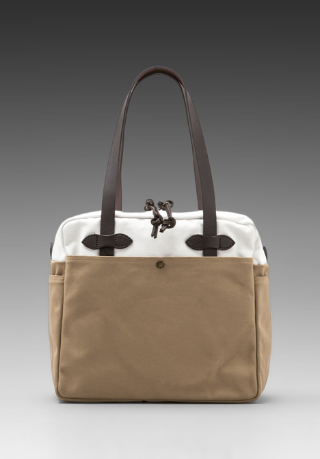 Filson white-tan zip top tote