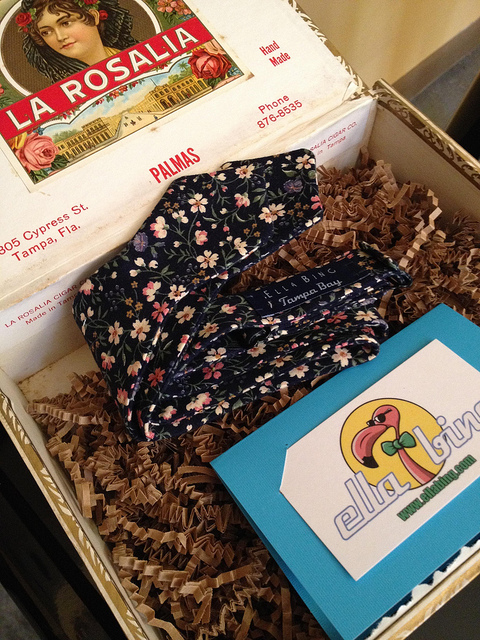 EB bow ties come presented in this vintage cigar box, also made in Tampa