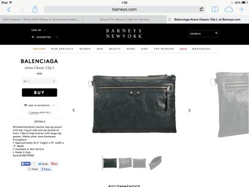 Balenciaga vert de gris wrinkled leather pouch