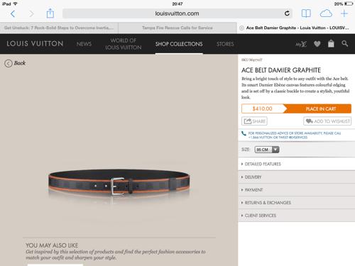 LV Damier Graphite belt w/ bright edging
