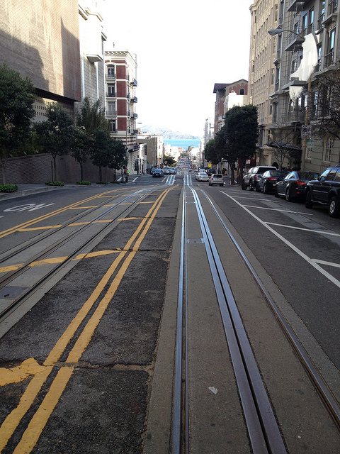 Cable car rides down Powell Street