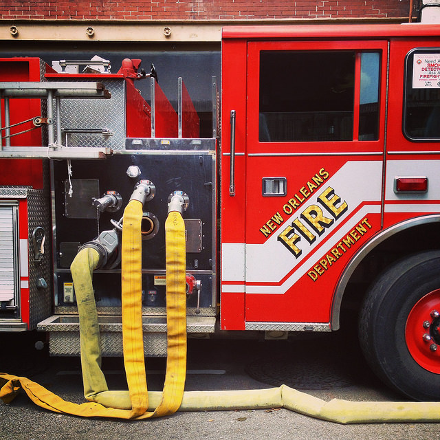 NOFD Engine 74, permanently hooked up to the pipes at the Wyndham. Not sure why.