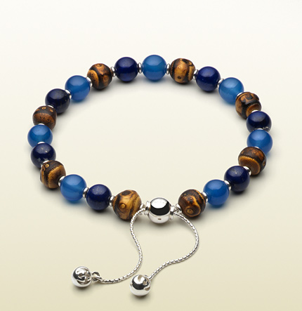 Gucci sterling silver, bamboo, lapis lazuli & light blue chalcedony beaded bracelet