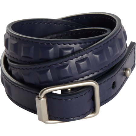 Balenciaga polished calfskin stud wrap bracelet in navy