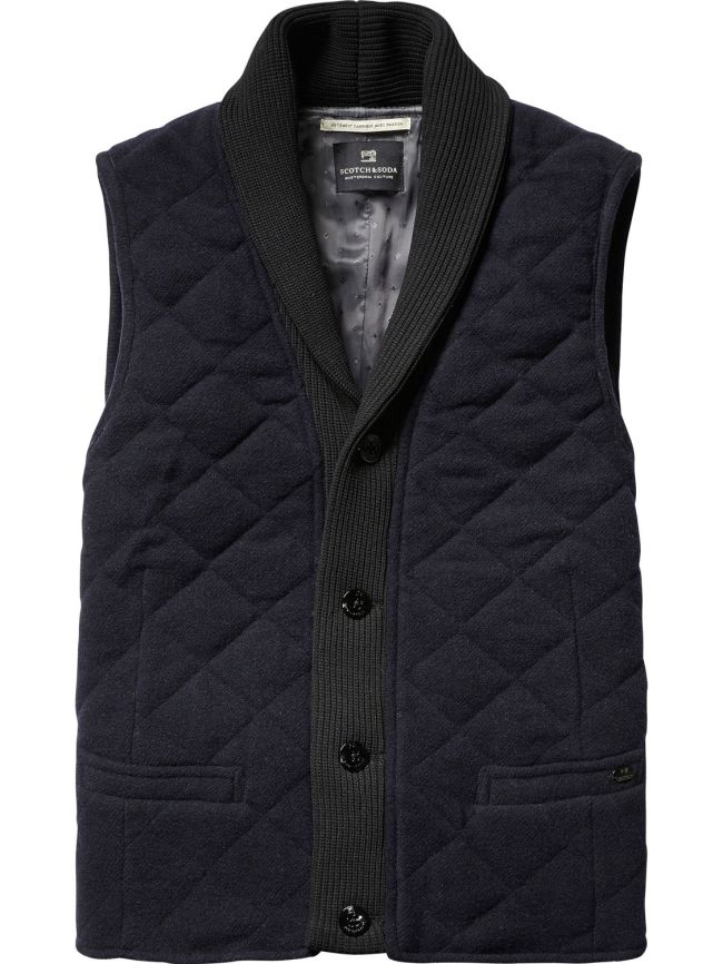 Scotch & Soda Quilted Wool Blend Gilet, at London Philips