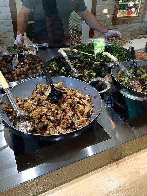 Fresh Kitchen veggies, like kale, broccolini, and mushrooms