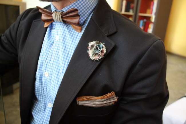 Wooden bow tie, lapel pin, and pocket square from Ella Bing, with a Billy Reid button-down and Uniqlo blazer