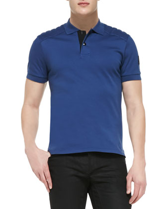 Belstaff Aspley polo shirt in blue, with quilted shoulders