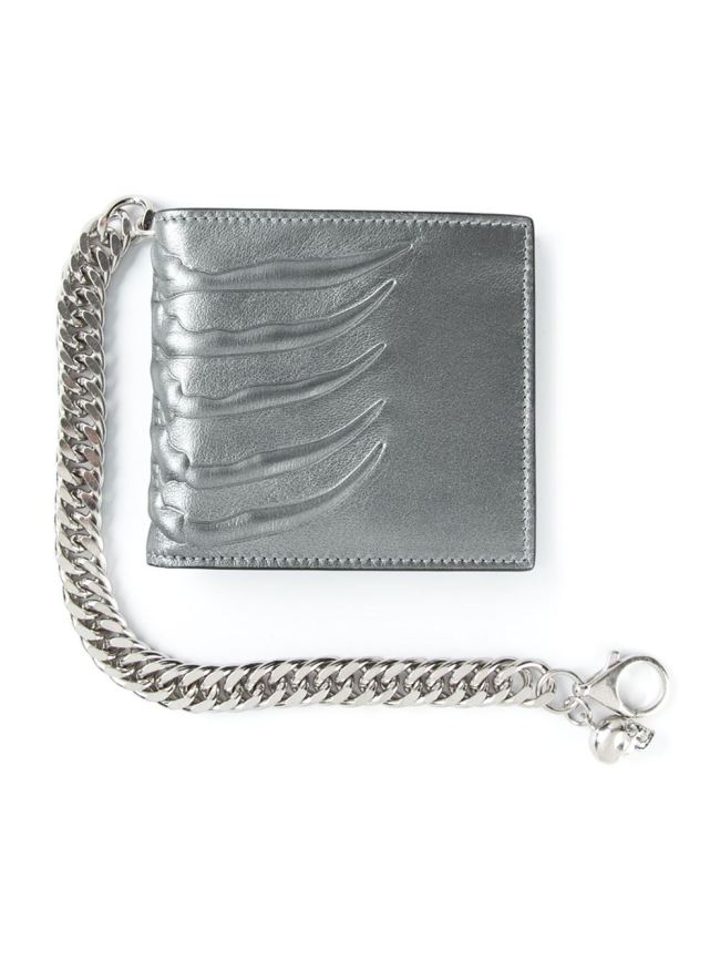 Alexander McQueen ribcage-motif silver leather wallet on a silver curb chain