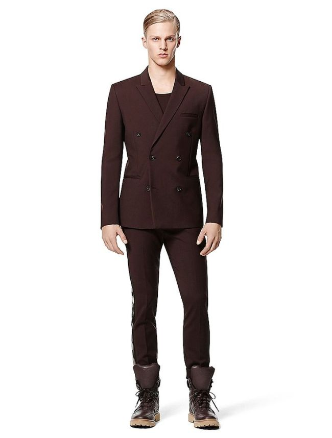 Chocolate Brown double-breasted jacket by Calvin Klein Collection