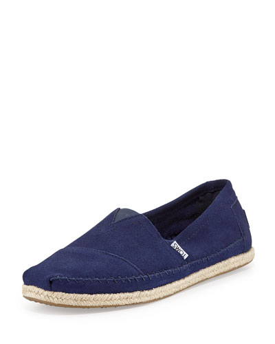 TOM'S classic rope-sole suede slip-on in navy, at Neiman Marcus