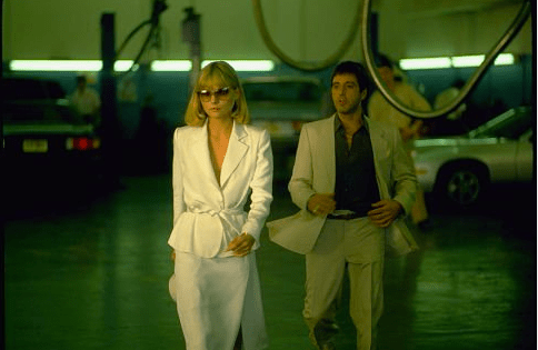 Michelle P and Al P in Scarface, 1983. White, black, and tan.