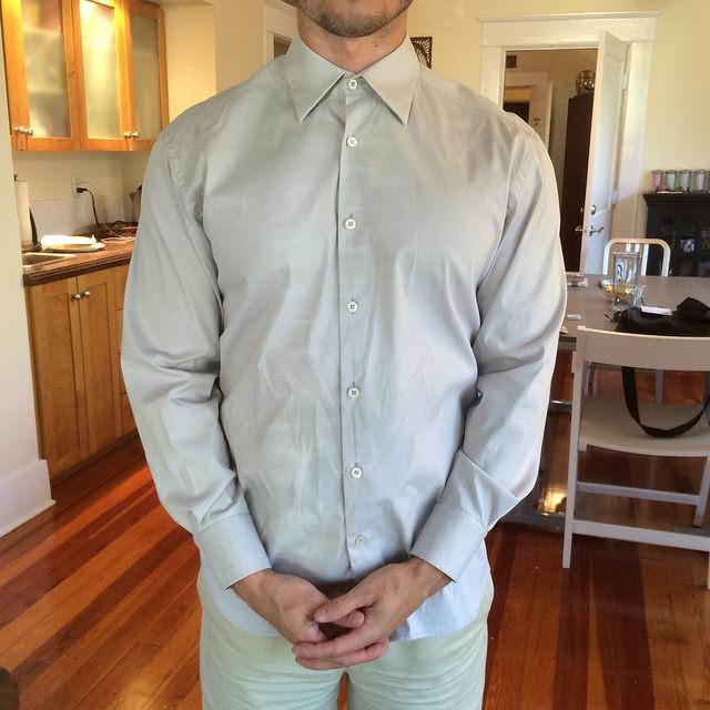 Stretch cotton-blend button-down Prada shirt, circa 2004