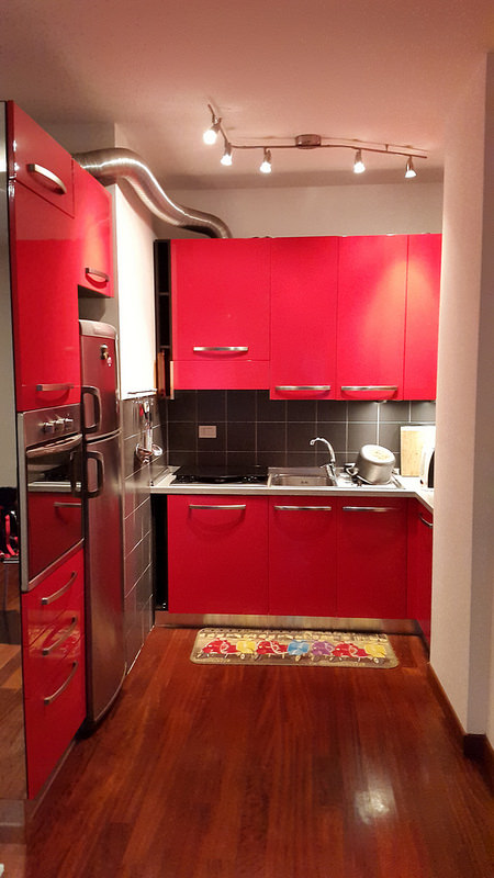 My new kitchen! Love the red.