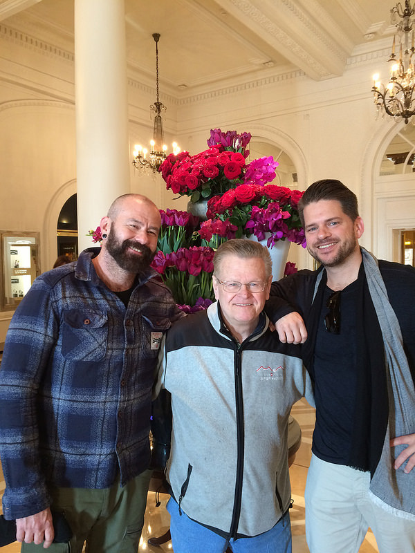 The crew at the Carlton Hotel. Brandon, the owner of my salon back in Tampa, Dick, Subway's first employee 50 years ago, and Brian Adams, a wedding photographer and friend.