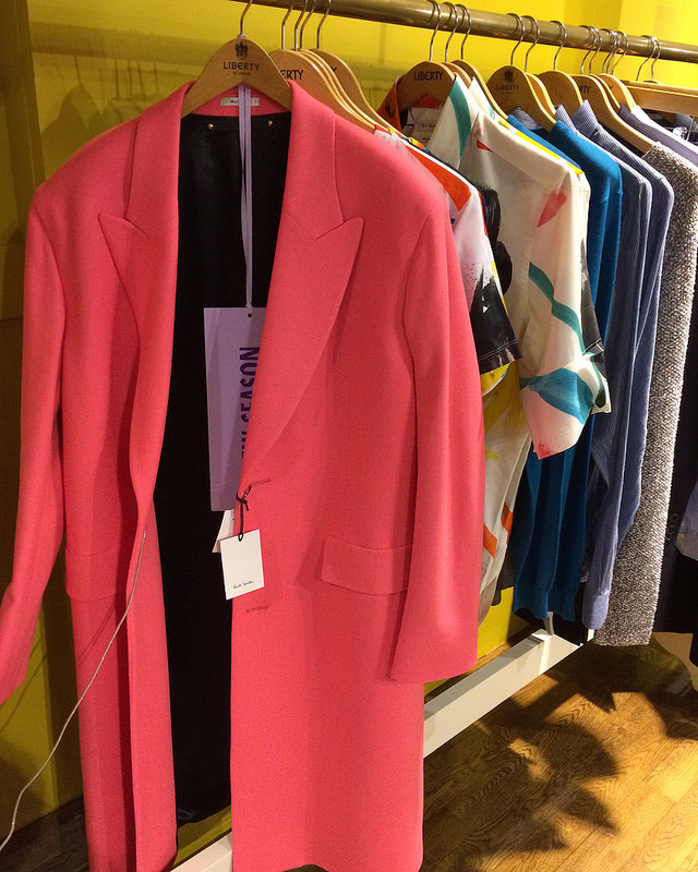 Paul Smith at Liberty London. Love this pink coat