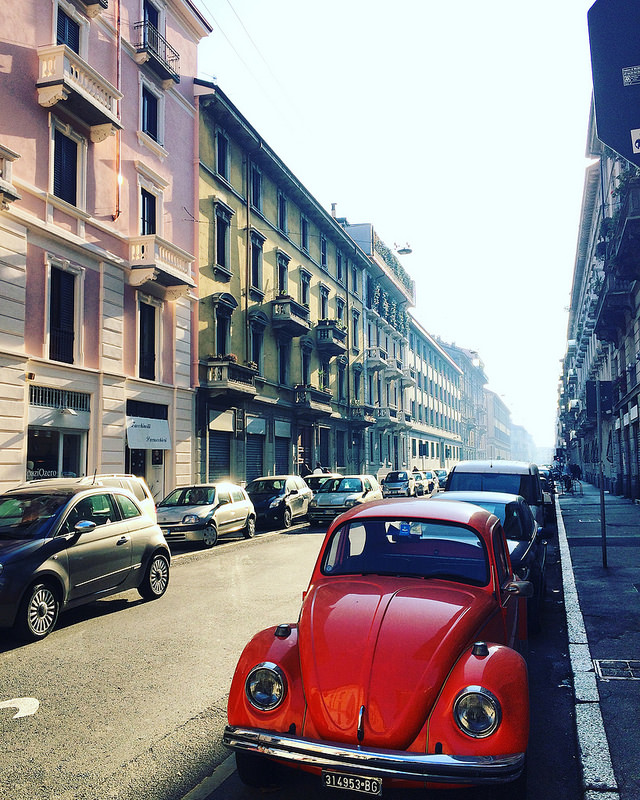 Somewhere near Porta Venezia with a classic bug in the foreground