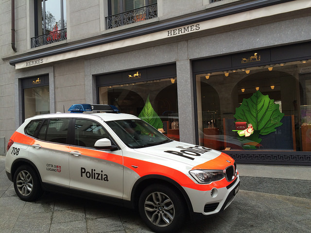 Lugano Polizia at Hermès boutique :)