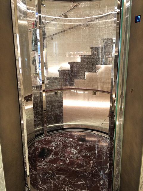 Circular elevator at Palazzo Fendi