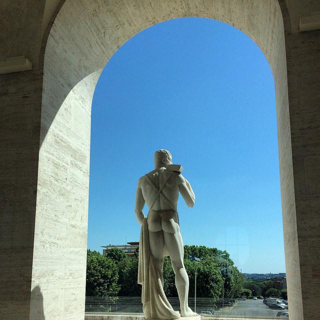 A statue at Palazzo della Civilta
