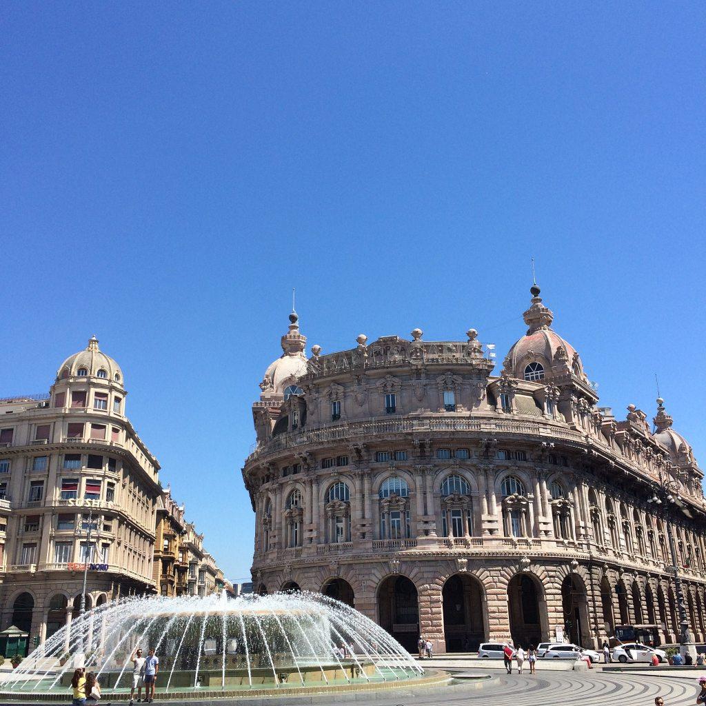 Main square in Genova, beautiful buildings