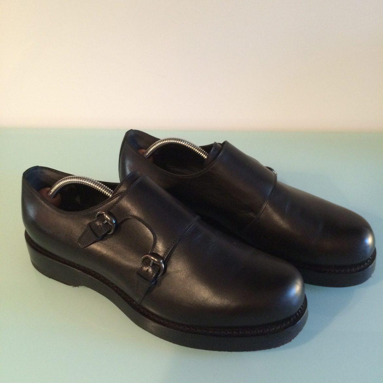 Gucci goodyear-welt black monkstrap shoes