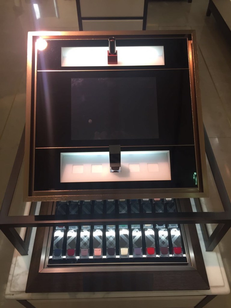 Burberry nail polishes and interactive display