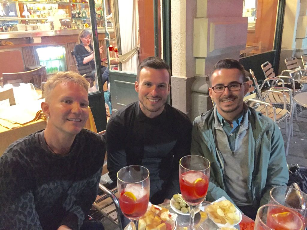 Paul, Stephen, and I at Bar Basso in Milan last year