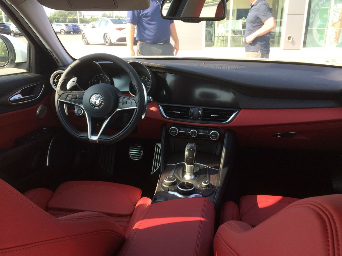 Cockpit of the new Alfa Romeo Giulia, in red/black