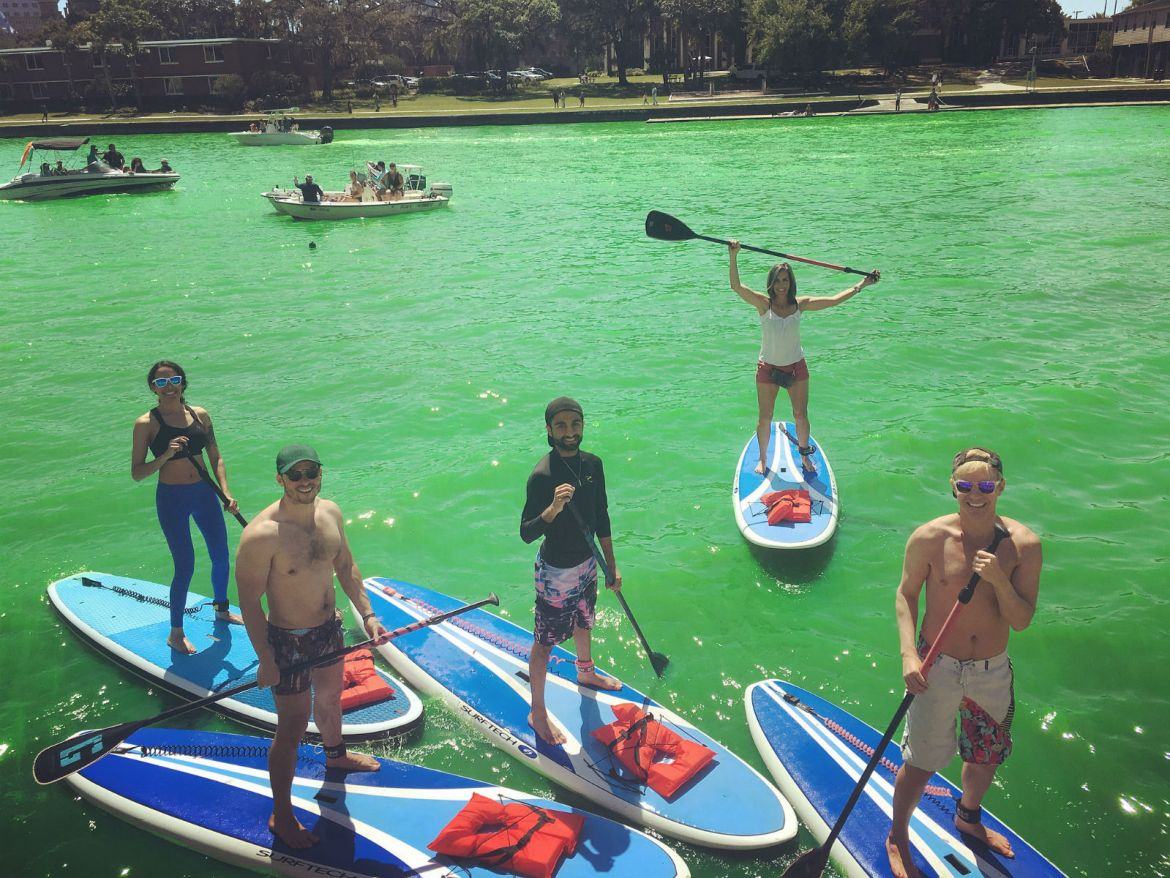 Paddling the river o' green on St. Patty's via Urban Kai SUP