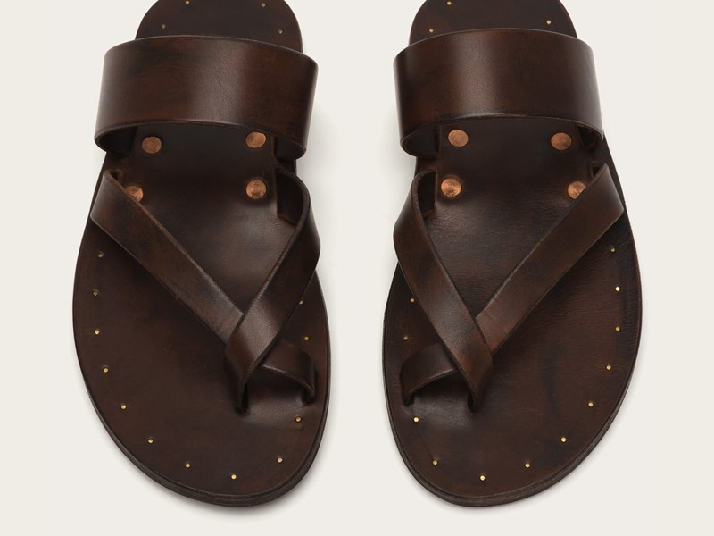 Frye brown and copper men's hybrid thong sandals