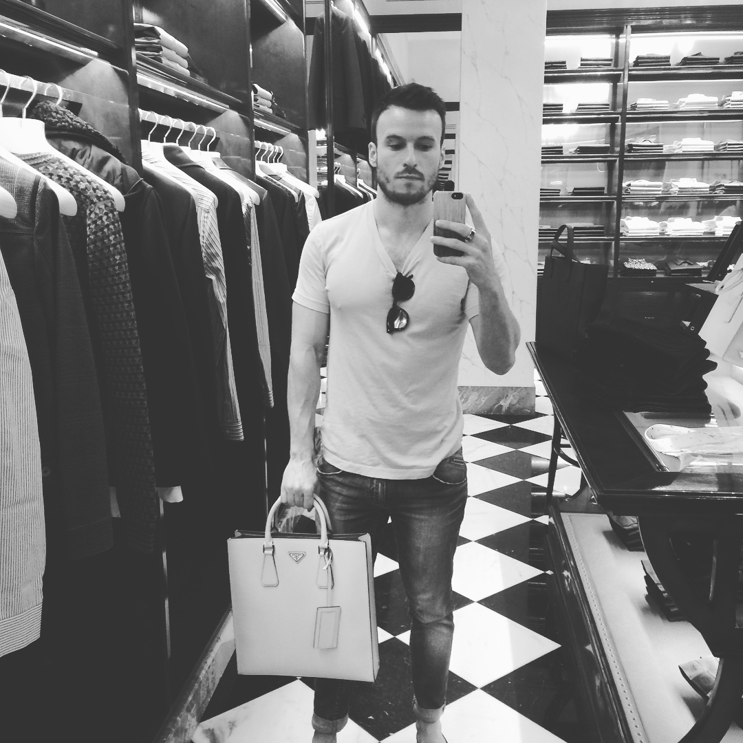 Shopping at Prada in Milan in James Perse best plain white tee, Dsquared2 jeans. Also Eyevan 7285 sunglasses, which I lost last summer. Miss those.