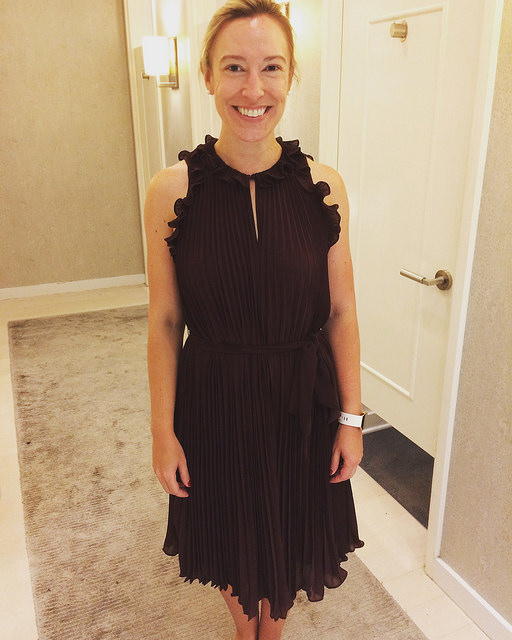 Client Brandie in Ann Taylor Pleated Flutter dress