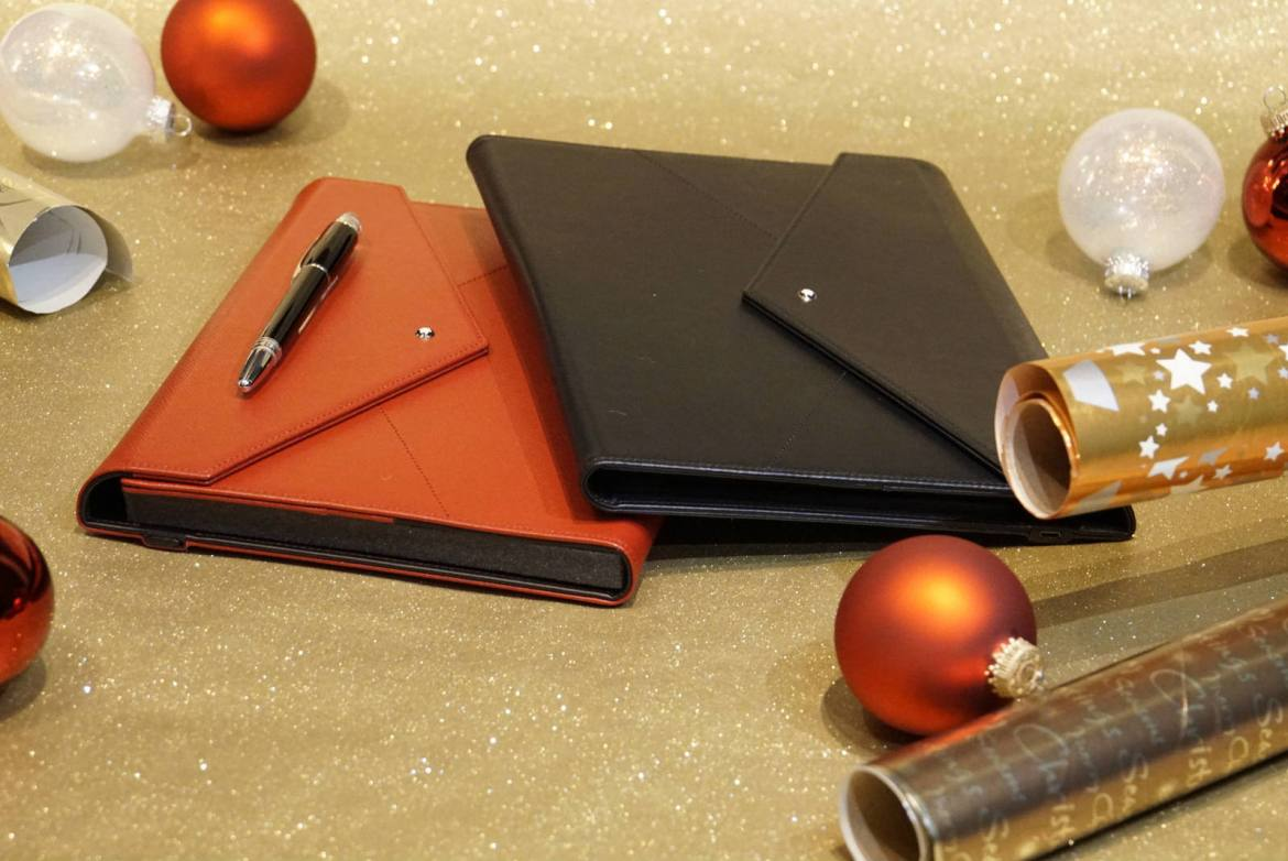 Montblanc Augmented Paper in red Sartorial saffiano leather and black smooth leather