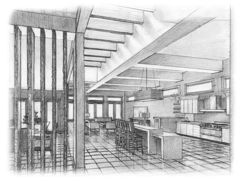 Interior View sketch of 2919 West Alline Avenue by John Saldana of ROJO