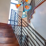 2919 West Alline by ROJO Architecture, stairwell chandelier
