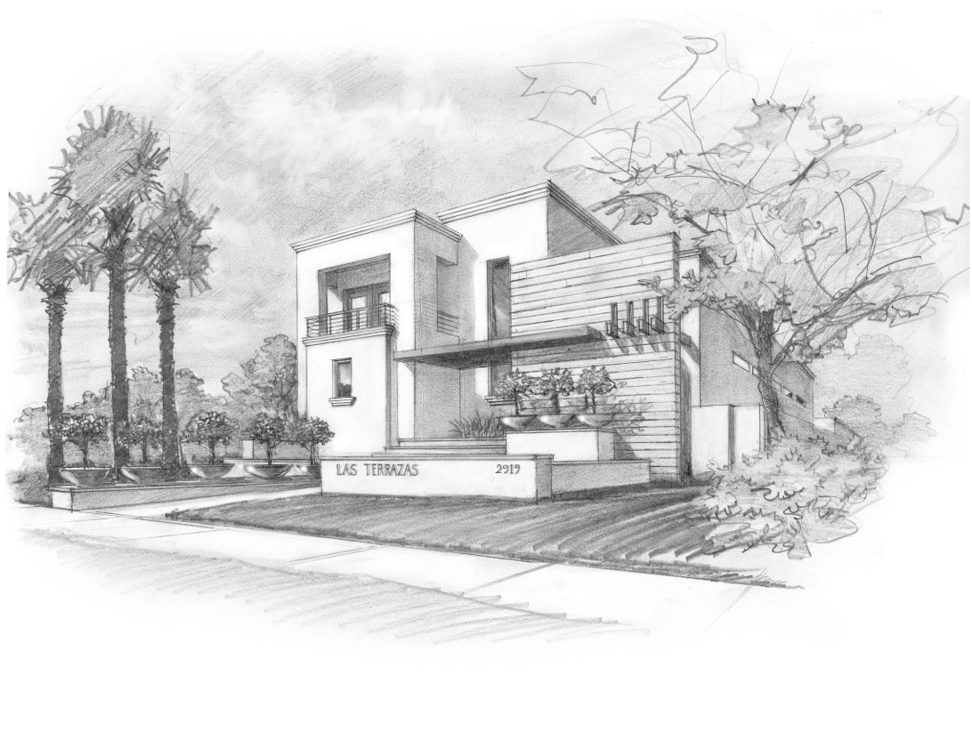 """Las Terrazas with window"" sketch by John Saldana of ROJO Architecture, in the style of Luis Barragán"